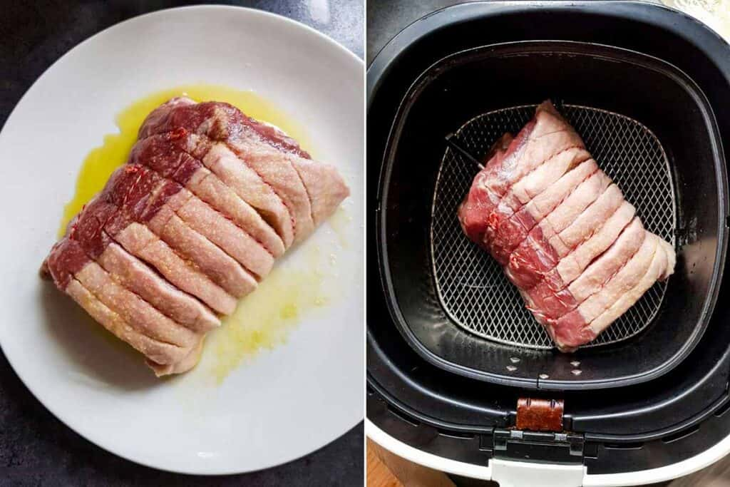 Pork roast preprared for air frying, salted and oiled and placed in air fryer basket