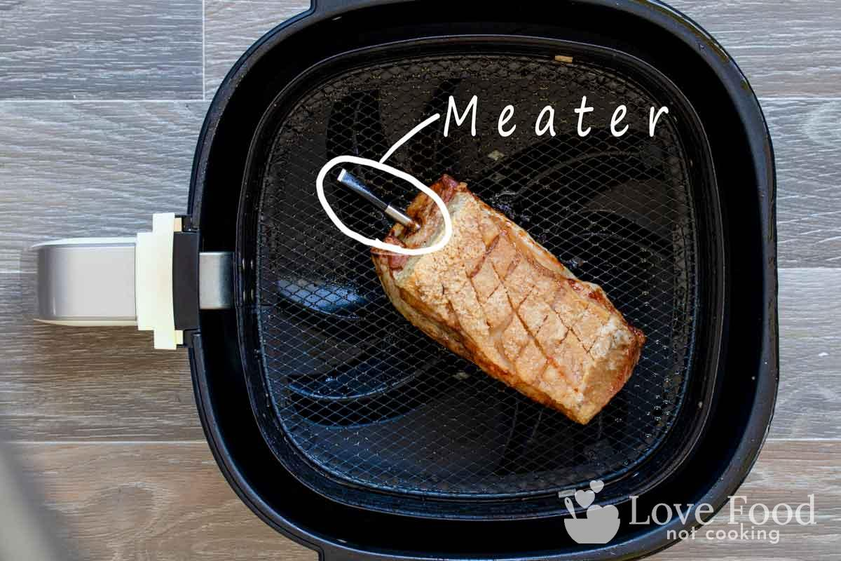 Roast pork in air fryer with Meater meat thermometer