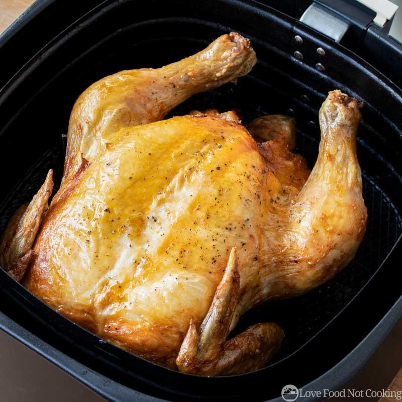 Roast chicken in air fryer basket