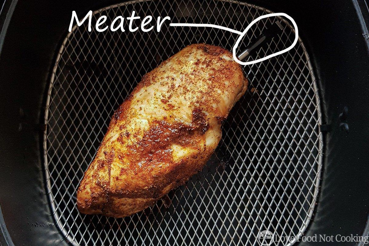 Chicken breast in air fryer with Meater meat thermometer
