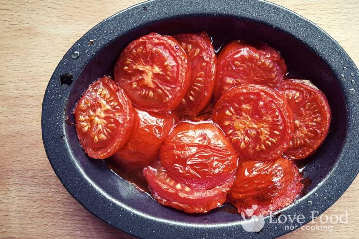 Air fried tomatoes in a small roasting pan
