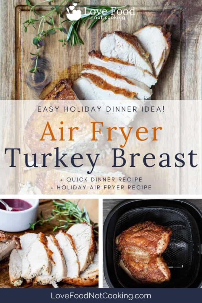 "Pinterest pin for air fryer turkey breast - image of air fried turkey with text overlay: ""Air Fryer Turkey Breast"""
