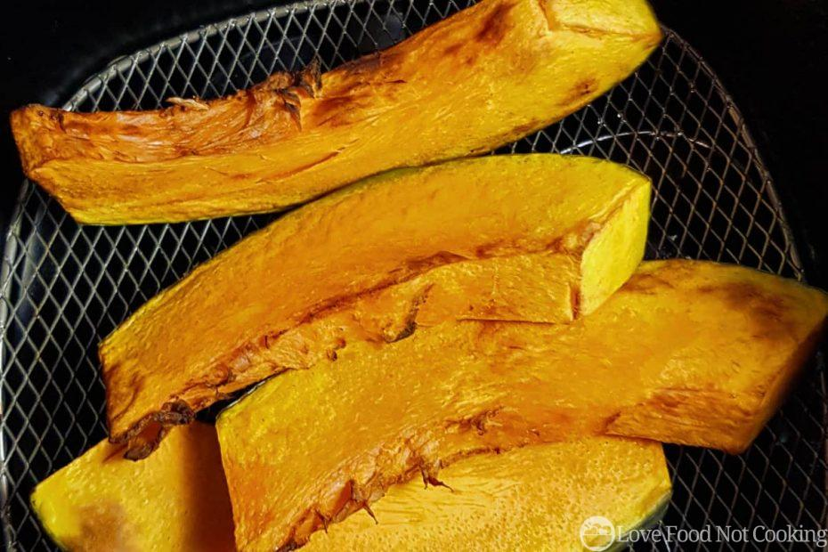 Roasted pumpkin in air fryer basket