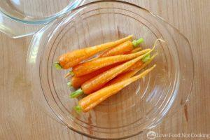 Carrots in a glass bowl.