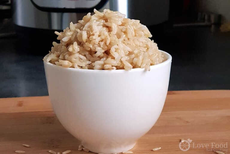 Instant Pot Brown Rice in a white bowl