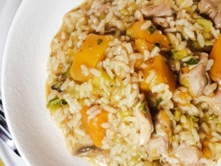 Instant Pot Chicken Pumpkin Risotto in a white bowl