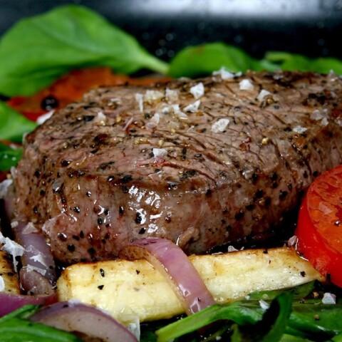 Air Fryer Steak with salad an roast vegetables