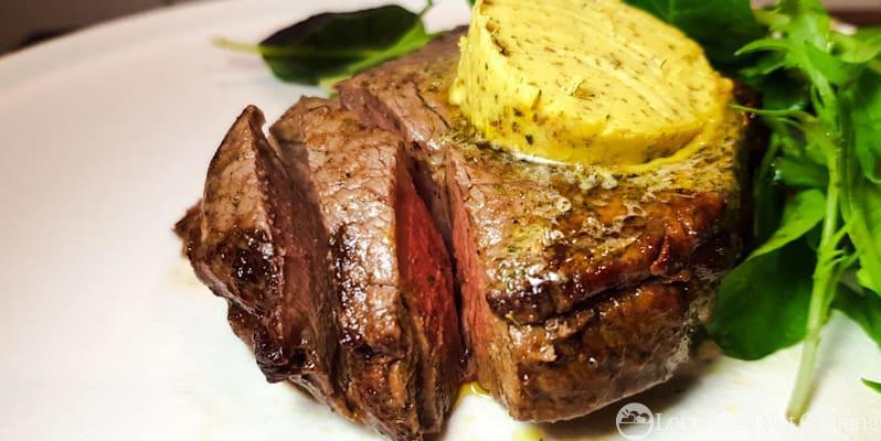 Air fryer steak with herb butter