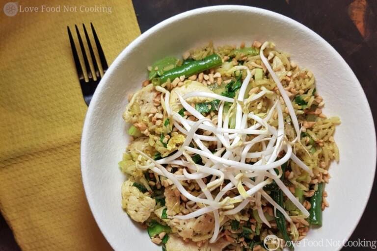 Chicken Nasi Goreng in a white bowl.