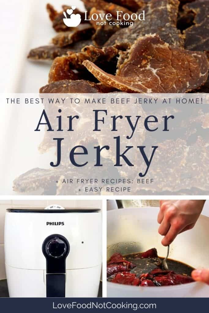 """Pin image for Air Fryer Jerky - images of jerky and air fryer with text overlay: """"Air Fryer Jerky"""""""