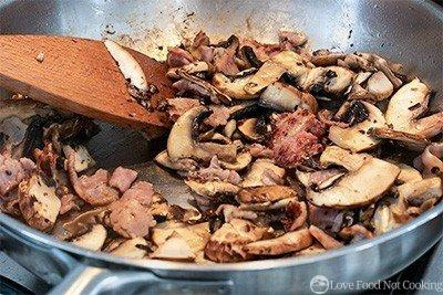 Bacon and mushroom cooked