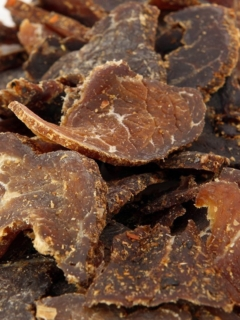 Air Fryer Beef Jerky on a white plate