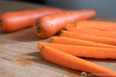 Carrots cut into quarters