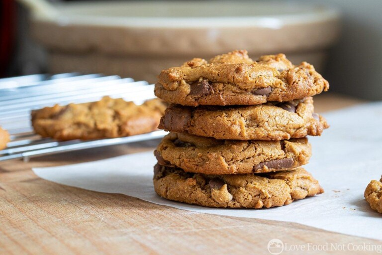 Stacked peanut butter and choc chip cookies