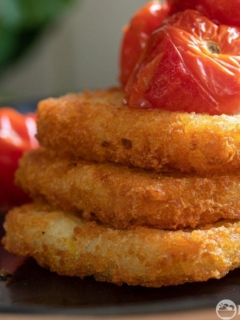 Air fryer hash browns with roated tomatoes
