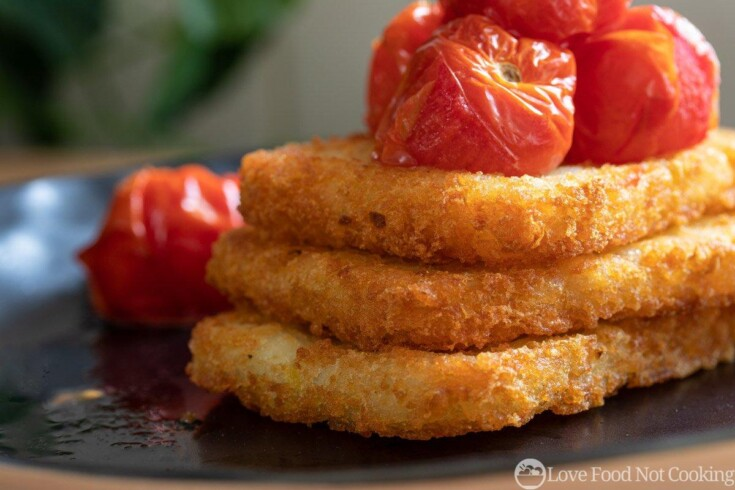 Air fryer hash browns with air fryer roasted tomatoes