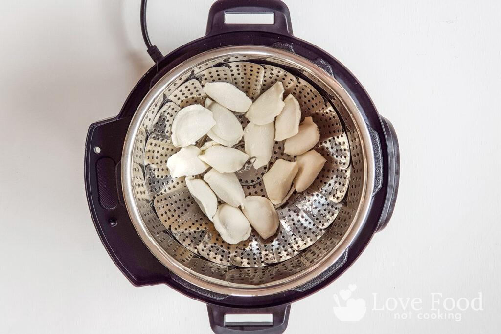 Frozen dumplings in Instant Pot bowl