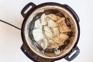 Steamed dumplings on Instant Pot trivet