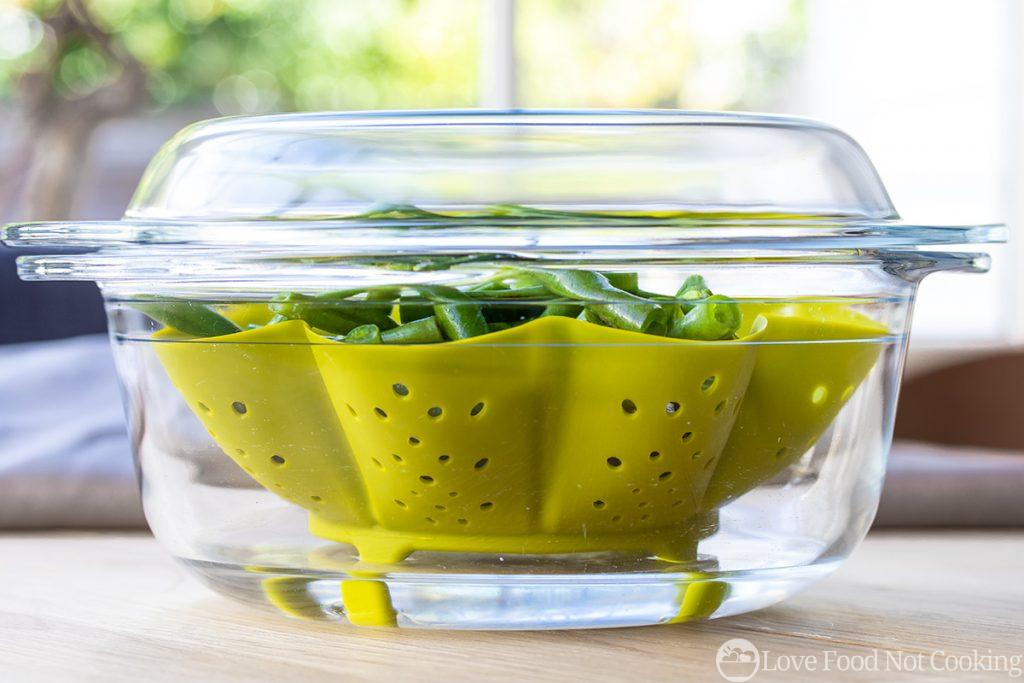 Green beans in microwave bowl