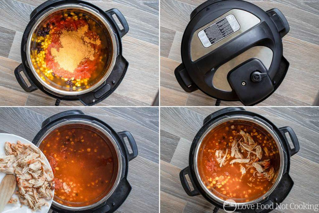 How to make chicken tortilla soup in an Instant Pot - steps