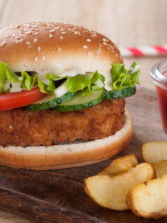 Air Fryer Chicken Patties on a bun with slaw