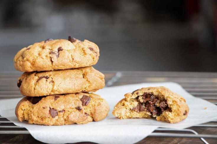 A stack of air fryer chocolate chip cookies