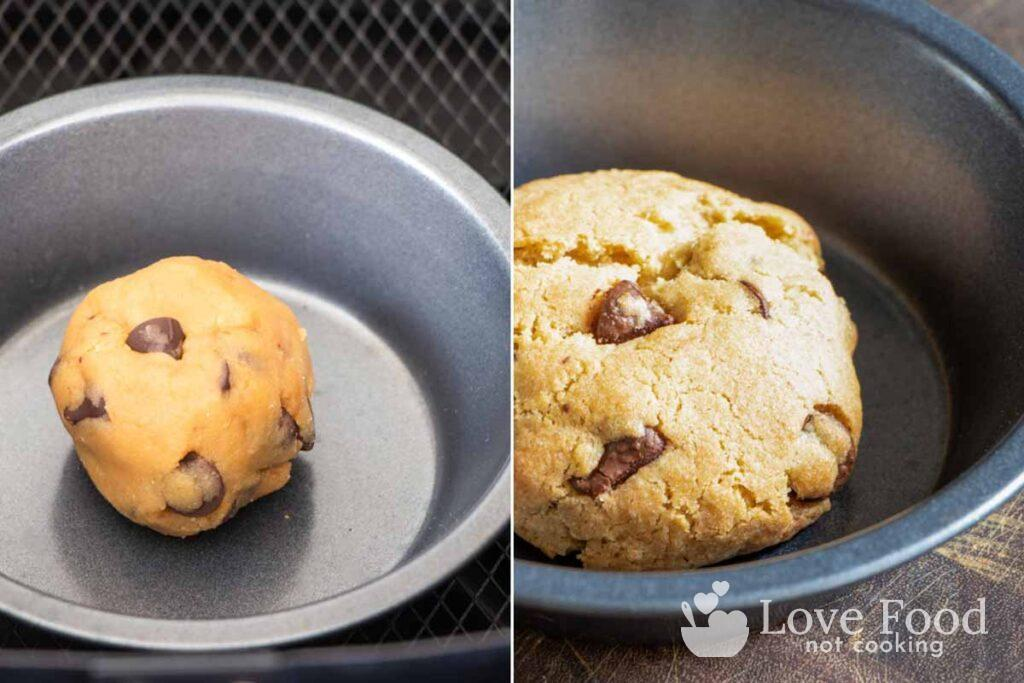 Frozen cookie dough in a pan in an air fryer basket and a baked cookie.