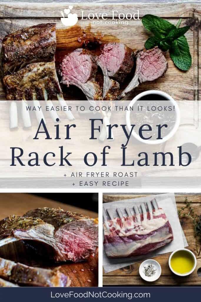 "Pin image for air fryer lamb rack - photos of lamb rack with text overlay ""air fryer rack of lamb"""