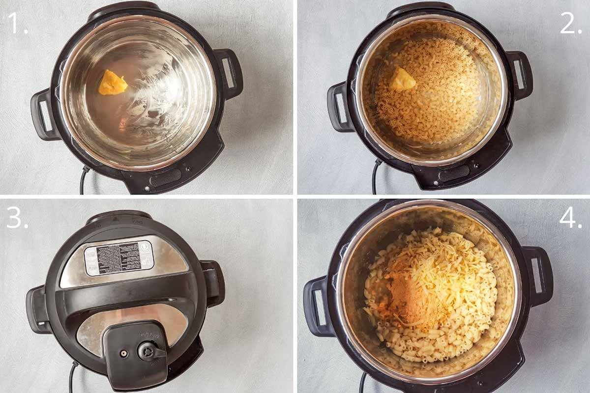 Steps to cook boxed macaroni cheese in an Instant Pot
