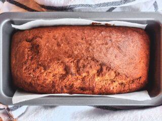 Air fryer banana bread in loaf pan.