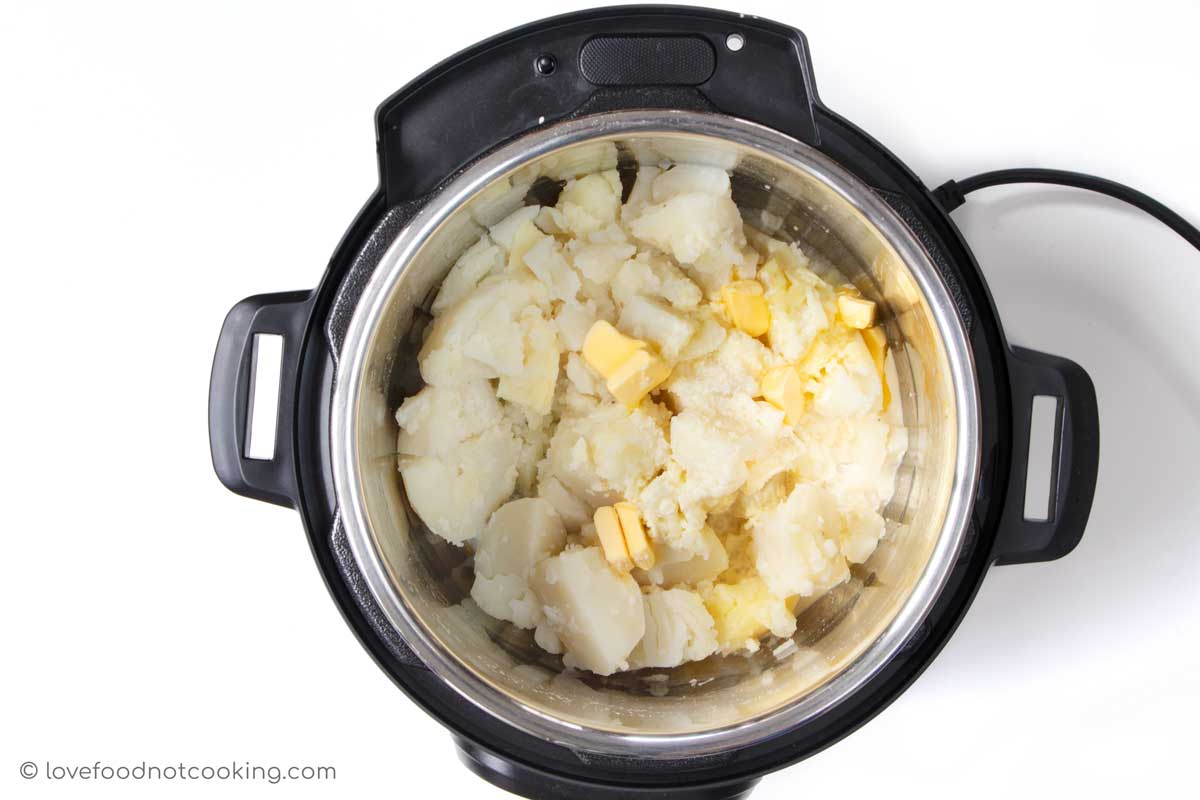 Pressure cooked potatoes in Instant Pot with butter and milk.